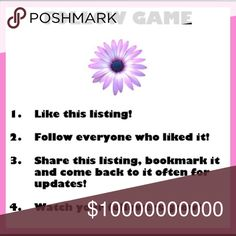 FOLLOW GAME Lets work together to grow our followers and sales!!!! 1. Like this listing ....2. Follow me ... I'll follow you back ... 3. Follow everyone who liked this listing .... 4. Share this listing with your PFF's and watch your followers and sales grow .... 5. Bookmark this listing to check back often for new followers and share often!!!! Thank you and all my best to you!!! Other