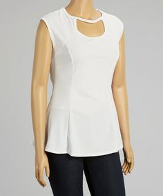 This White Pleated Sleeveless Top - Plus by Hot Ginger is perfect! #zulilyfinds