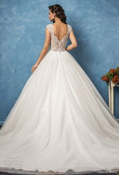 amelia sposa 2017 bridal cap sleevwes bateau neckline heavily embellished bodice romantic princess ball gown a  line wedding dress lace back royal train (sofia) bv