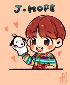 QUE TIERNO!!! Bts Chibi, Foto Bts, Bts Photo, Vhope Fanart, Jhope Cute, Anime Bebe, Hope Art, Dibujos Cute, Hoseok Bts