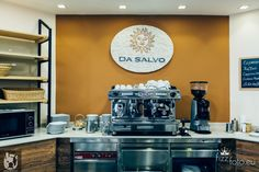 Italian bakery has to serve a proper Italian coffee as well. Interior design by Otto von Berlin.