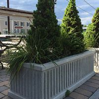 Concrete Classics - Fluted concrete planter or barrier - use to frame a patio- long Large Concrete Planters, Chess Table, Pocket Park, New York Style, Park Benches, Patio, Classic, Plants, Tables