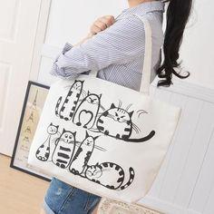 Fat Cat Tote Canvas Shoulder Bag