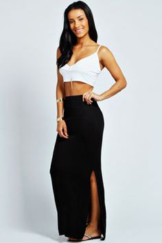 f35879adb Elora Slim Fit Side Split Column Maxi Skirt Side Split, Skater Skirt, Midi  Skirt
