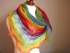 Colorful Chameleon  hand knitted shawl by sweetflowers on Etsy