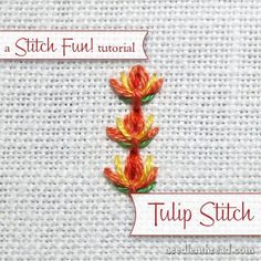 Step by step instructions for tulip stitch - a simple hand embroidery stitch that can be used as a single stitch or worked in lines. Lots of possibilities for further embellishment with this fun stitch! #embroiderystitchestutorial