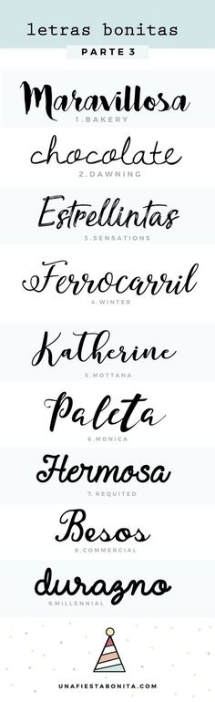 invitaciones tipos de letras - Recipes, tips and everything related to cooking for any level of chef. Handwritten Fonts, Calligraphy Fonts, Typography Fonts, Letras Cool, Brush Lettering, Grafik Design, Cool Fonts, Handwriting, How To Draw Hands