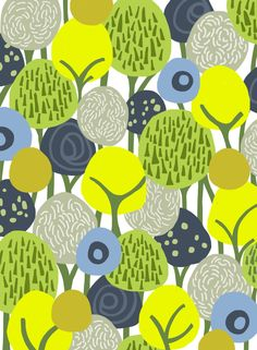 Forest, by frameless. Pattern yellow green blue