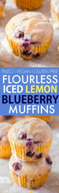 Healthy Flourless Lemon Blueberry Muffins (V, GF, Paleo)- Oil-free and sugar-free muffins which are so light, fluffy and filling, you'd never know! Freezer friendly, protein-packed and suitable for br (Gluten Free Recipes For Breakfast)
