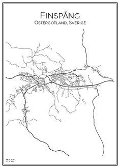 Finspång. Östergötland. Sverige. Map. City print. Print. Affisch. Tavla. Tryck. Stadskarta.