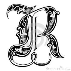 Fuente gótica adornada del estilo, letra R