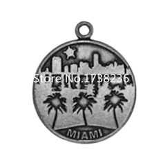 Vintage Styles Alloy Seascape Of The Miami City Miami Charm Round Disc Miami Charm