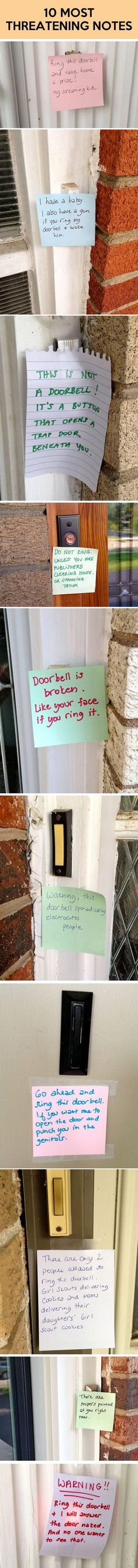 Threatening notes…Funny ways to ask people to not ring the doorbell when baby is sleeping or mommy is recovering from delivery. They could also come in handy while nursing; especially during the first month and growth spurts.