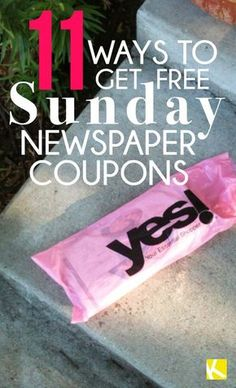 11 Ways to Get Free Sunday Newspaper Coupons Are you wondering: How can I get free Sunday newspaper coupons? That's a great question. We've found some thinking-out-of-the box ways to get free (or super cheap) coupon inserts without subscribin. Couponing For Beginners, Couponing 101, Extreme Couponing, Save Money On Groceries, Ways To Save Money, Money Saving Tips, Money Savers, Groceries Budget, Money Tips