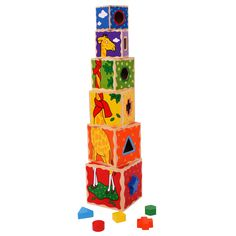 This bold and chunky set of stacking cubes is perfect for children to build up, knock down and do it all over again! Included are a set of 5 shapes that post through the shaped holes in the different blocks. Designed in sturdy wood with a high quality design, the set is sure to become a firm favourite.