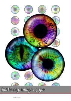 Hoja de Collage digital  ojos policromados  por BottleCapImages4you