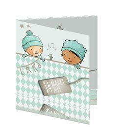 Hip winters geboorte kaartje jongen met klassiek tintje