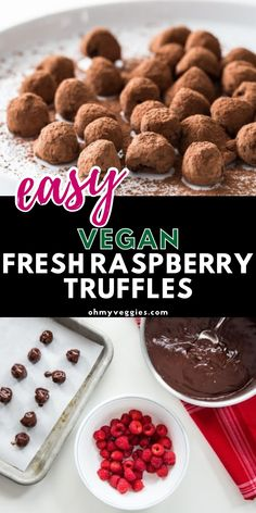 These vegan raspberry truffles are the ultimate vegan dessert. It only takes a handful of ingredients and 15 minutes to make these easy no-bake truffles. #vegan #truffles #dairyfree | Vegan Truffles | Raspberry Truffles Vegan Baking Recipes, Vegan Desserts, Easy Desserts, Cookie Recipes, Dessert Recipes, No Bake Truffles, Vegan Truffles, Dairy Free, Raspberry