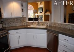 When Cassie and her husband were redoing their kitchen, they were faced with these white tiled countertops