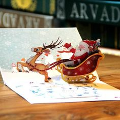 Merry Christmas, 3D Cards Pop Up Greeting Cards Santa Ride Christmas Cards Happy New Year