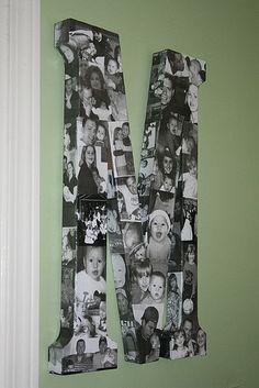 Modge Podge monograma de imagen. Usted puede hacer toda la familia en un collage con la primera letra de su apellido. Me gustaría hacer uno para cada uno de mis hijos utilizando la letra de su primer nombre, voy a empezar a trabajar en él temprano y hacer que sea un regalo de Navidad. Ssshhh que es una sorpresa. Judi y yo vamos a hacer esto! :):