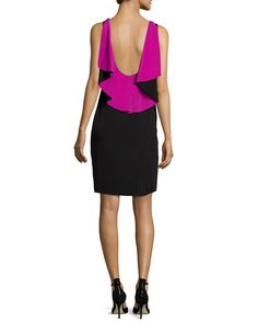 Sleeveless Ruffle-Back Colorblock Sheath Dress, Black