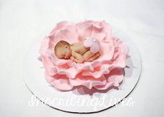 fondant cake topper Baby shower cake topper 3D baby on flower edible decorations girl christening blanket baptism keepsakes vintage