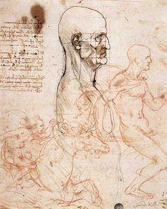 Leonardo Da Vinci Erkek Torsu Profili, Oran Sağlaması için Karelere Bölünen Baş İki Binici Taslağı, 1490