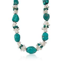 """Ross-Simons - Turquoise and 4-6mm Cultured Pearl Necklace in Sterling Silver. 16"""" - #214566"""