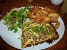 Lasagne and potato wedges from Herbies, Exeter