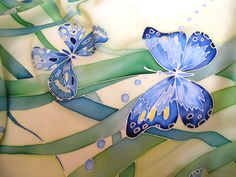 Designer Silk scarf square Butterflies, spring scarf, gift for women, gift for her, hand-painted, blue, green, silk scarf square.