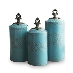 Amazon.com - American Atelier Canisters, Blue, Set of 3 - Cannister Sets Kitchen American Atelier