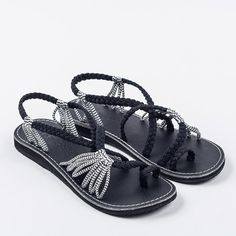 Flat Summer Sandals for Women by Plaka Black Zebra 9 Palm Leaf