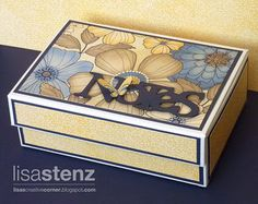 CTMH card/photo box decorated with Pemberley paper and filled with matching notecards