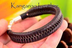 4B-886 Finely Made Sterling Silver Kangaroo Leather New Wristband Men Bracelet