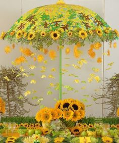 Love the umbrella with sunflowers. Perfect for decorations sunflowers A Vintage Sunflower Wedding Invitation is unveiled + Anniversary Wishes