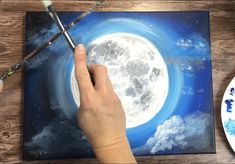 Moon Painting - Step By Step Acrylic Painting Tutorial - With Pictures Night Sky Painting, Moon Painting, Diy Painting, Ring Around The Moon, White Paint Pen, Simple Canvas Paintings, Ocean Colors, Acrylic Painting Tutorials, Step By Step Painting