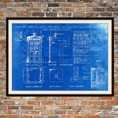 Dr Who Tardis Blueprint Art of The Tardis Police Box Blue Box Technical Drawings Engineering Drawings Patent Blue Print Art Item 0101