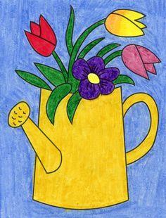 Flower Drawing For Kids, Easy Flower Drawings, Easy Flower Painting, Easy Drawings For Kids, Oil Pastel Drawings, Colorful Drawings, Spring Drawing, Spring Painting, Flower Bouquet Drawing