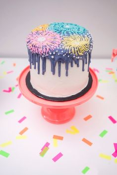 New Year's firework cake from It's 12 O'Clock Somewhere Neon New Year's Eve Party on Kara's Party Ideas | KarasPartyIdeas.com (21) New Years Eve Dessert, New Years Eve Party Ideas Food, New Years Party, Fireworks Cake, New Year Fireworks, 20 Birthday Cake, Neon Birthday, New Year's Desserts, Patriotic Desserts
