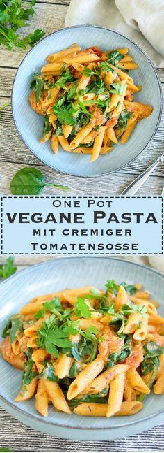 healthy rezepte vegetarisch, vegane Pasta mit Tomatensoße, one pot, einfach