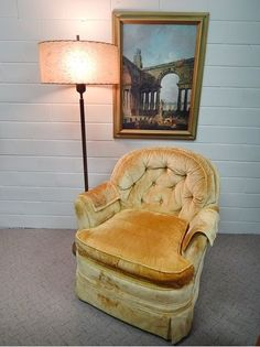 Vintage Mid Century Modern Yellow Plush Upholstered Lounge Chair Linvingroom in Antiques | eBay $199.99