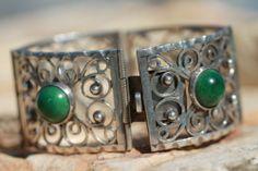 Mexican Taxco Vintage 925 Sterling Silver Filigree Link Serpentine Bracelet   eBay