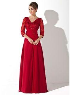Vestidos princesa/ Formato A Decote V Chá comprimento De chiffon Renda Vestido para a mãe da noiva com Pregueado Bordado Lantejoulas