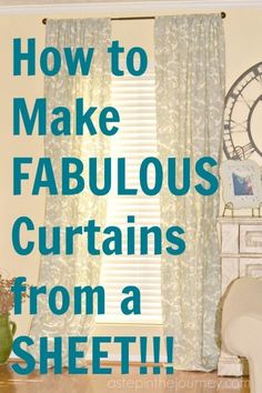 This is GENIUS. Here is a simple tutorial to make curtains from a flat twin sheet AND you don