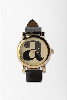 "I usually don't go for the ""initial"" stuff, but this is dang cute.   Urban outfitters typewritre initial watch $25"