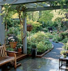 Over 50 Fresh Ideas for Outdoor Rooms It doesn't take much to spruce up your porch, patio, or garden. Find easy (and inexpensive) update you can do today. Pergola Breezeway     The wisteria-draped pergola acts as a shady tunnel contrasting with the open and bright garden beyond.