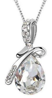 "ARCO IRIS Eternal Love Teardrop Swarovski Elements Crystal Pendant Necklace BY ARCO IRIS W 18k White Gold Plated Chain - Clear *** VALENTINES DAY SPECIAL DAY *** Arco Iris Jewelry. $22.95. Pendant Width - 3/4"", Height - 1-1/4"".    Crystal Width - 5/8"",  height - 7/8"". Available colors: Clear, Purple, Orange Sapphire, Yellow Topaz, Rose Pink, & Blue.. White Gold Plated (Tarnish-free), Total Length = 17-1/2"" --- (Chain Length - 16-1/4"" + Extension Cord - 1-1/4""). Come wi..."