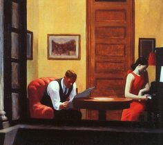 "Edward Hopper, ""Room In New York"", 1937........MY REACTION TO THIS PICTURE:  ""VERY  SAD -- THERE'S TROUBLE BREWING IN NEW YORK ~~...........ccp"