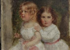 #Oil on #canvas representing the #portrait of two young sisters. #19thcentury. For sale on #Proantic by Guillaume Roy Antiquités.